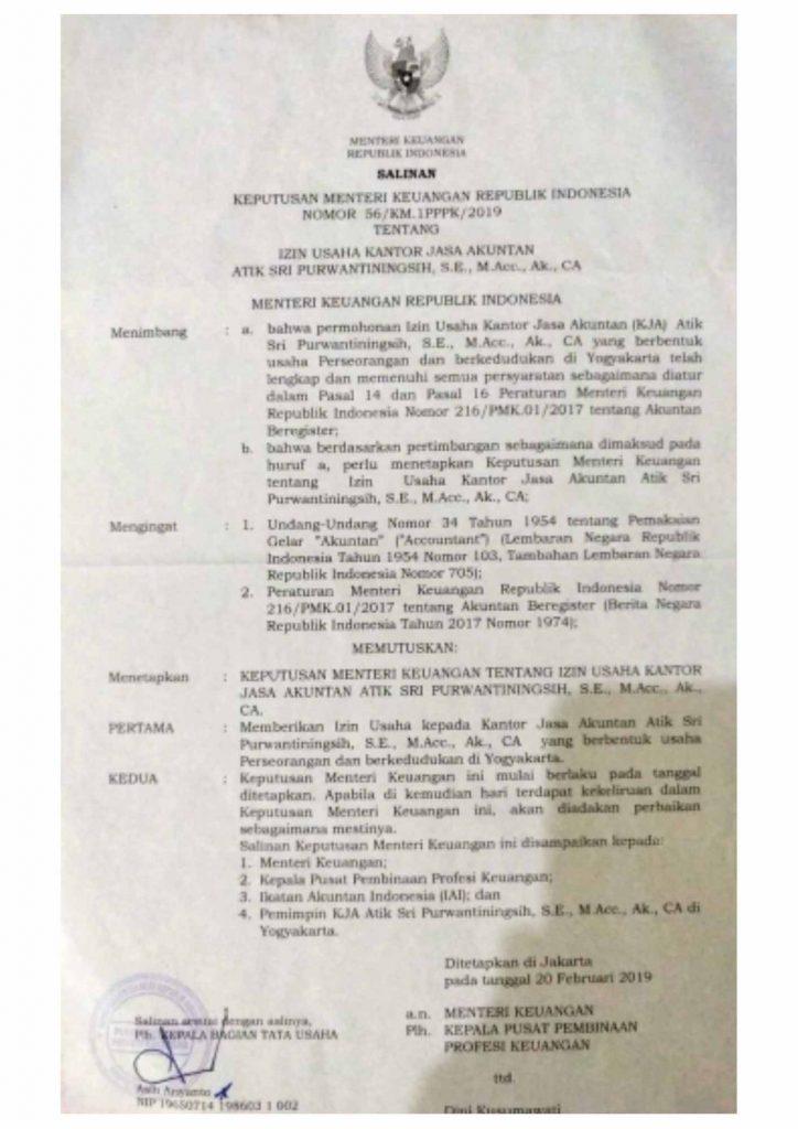 Surat Keputusan Menteri Keuangan